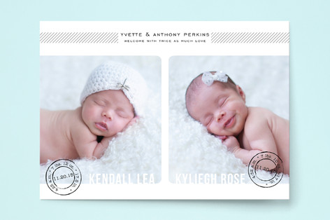 Double Stamped Birth Announcements