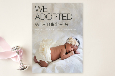 Adopted Urban Birth Announcements