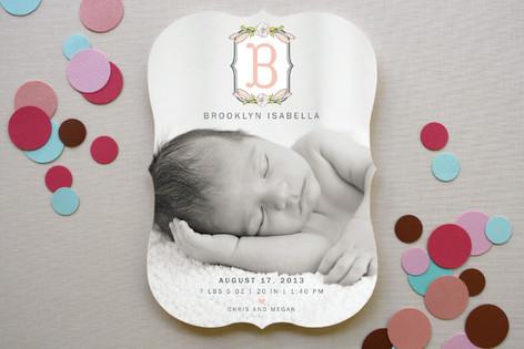 Meadow Monogram Birth Announcements