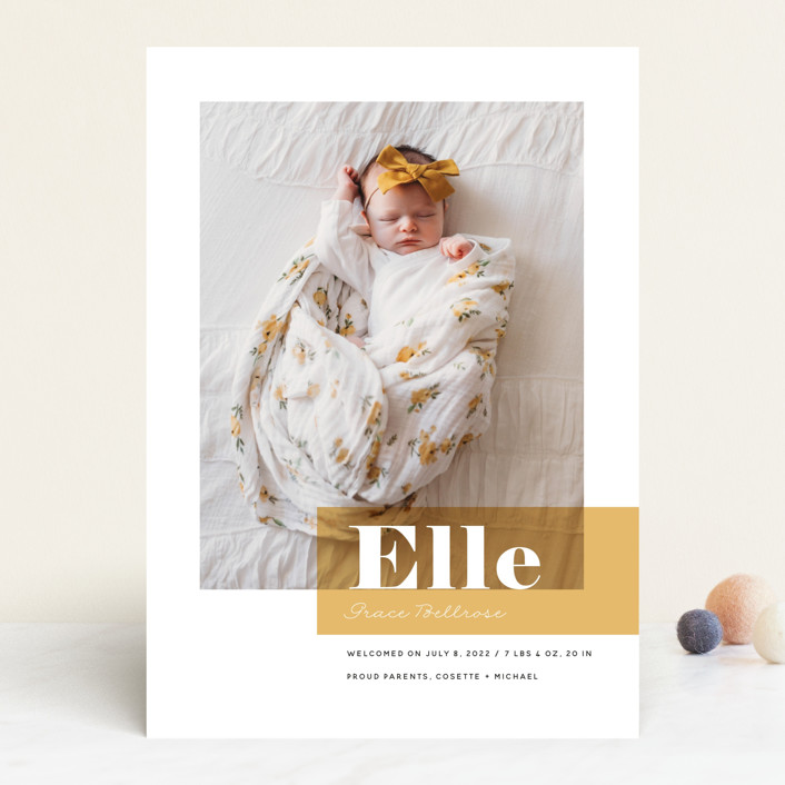 """Magazine Block"" - Modern Birth Announcements in Marigold by Maria Hilas Louie."