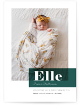 This is a green birth announcement by Maria Hilas Louie called Magazine Block with standard printing on smooth signature in standard.