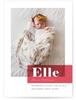 This is a red birth announcement by Maria Hilas Louie called Magazine Block with standard printing on smooth signature in standard.