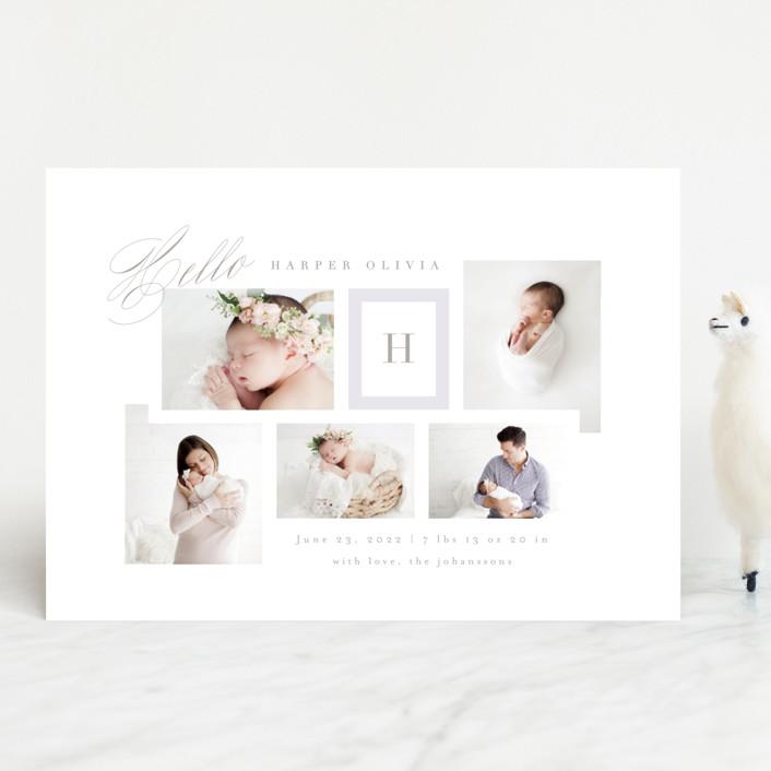 """Precious Gallery"" - Preppy Birth Announcements in Blush by Kristie Kern."