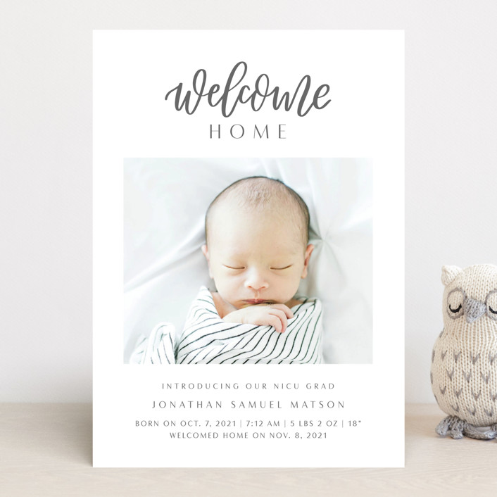 """""""Welcome Home Baby"""" - Modern Birth Announcements in Shadow by Carolyn Kach."""