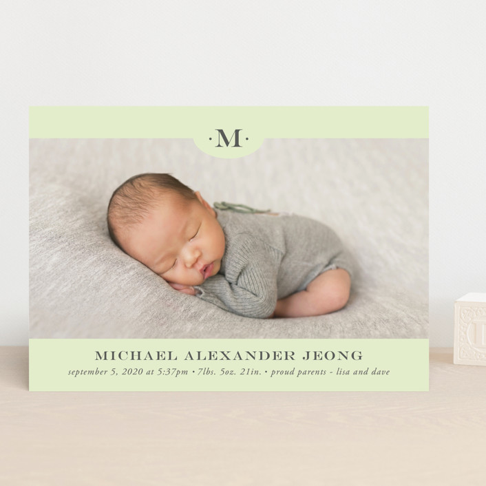 """Classic Monogram"" - Preppy Birth Announcements in Charcoal by Beth Schneider."