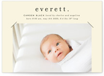 This is a beige birth announcement by Baumbirdy called All in a Name with standard printing on smooth signature in standard.