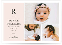 This is a pink birth announcement by Robert and Stella called Monogram Block with standard printing on signature in standard.