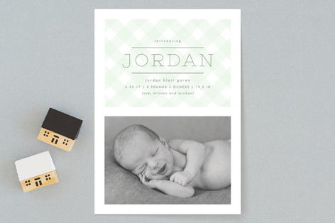 Gingham Birth Announcements