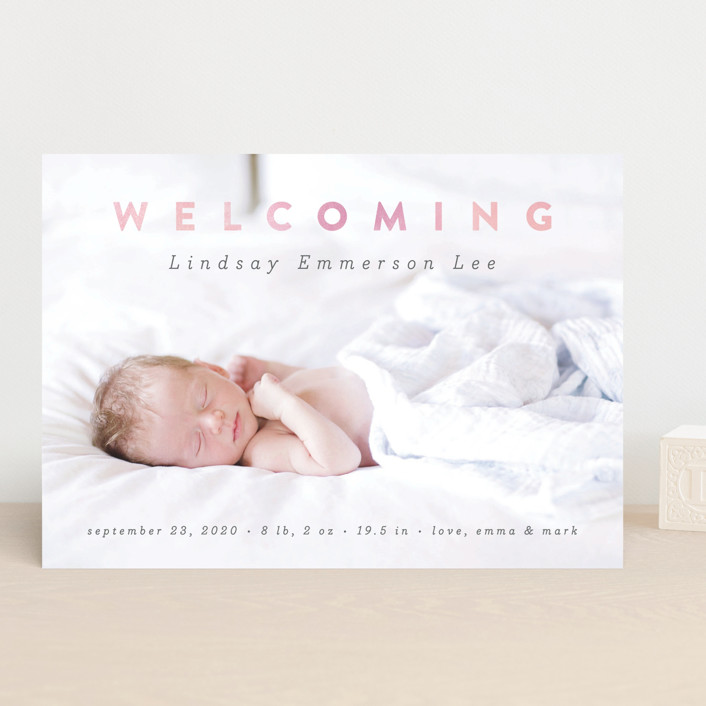 """Rainbow Welcome"" - Modern Birth Announcements in Rainbow by Liz Conley."