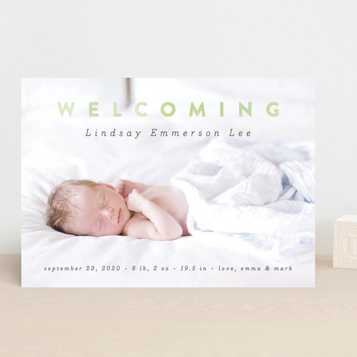 """Rainbow Welcome"" - Modern Birth Announcements in Rainbow by Liz Conley."