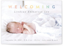 This is a colorful birth announcement by Liz Conley called Rainbow Welcome with standard printing on smooth signature in standard.