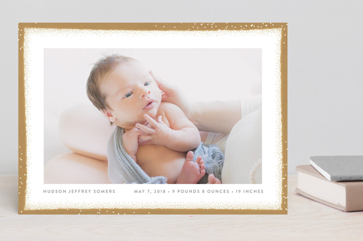 """Painted Edge"" - Preppy Birth Announcements in Midnight by Shari Margolin."