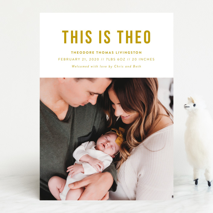 """""""This Is"""" - Funny, Modern Birth Announcements in Onyx by Genna Cowsert."""