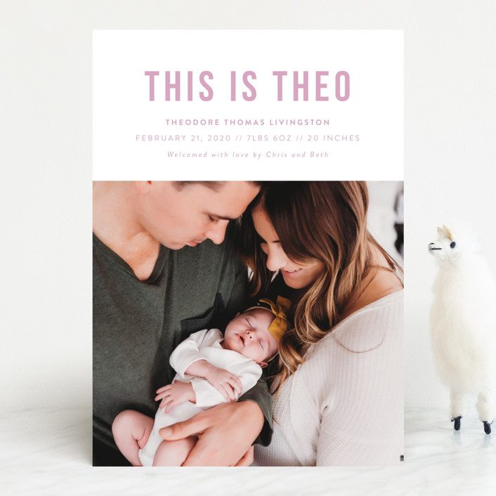 """This Is"" - Funny, Modern Birth Announcements in Onyx by Genna Cowsert."