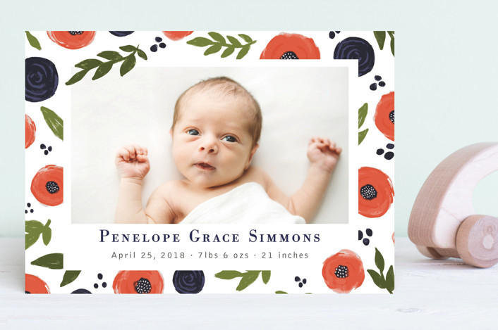 """""""Poppies"""" - Birth Announcements in Carrot by Mayflower Press."""