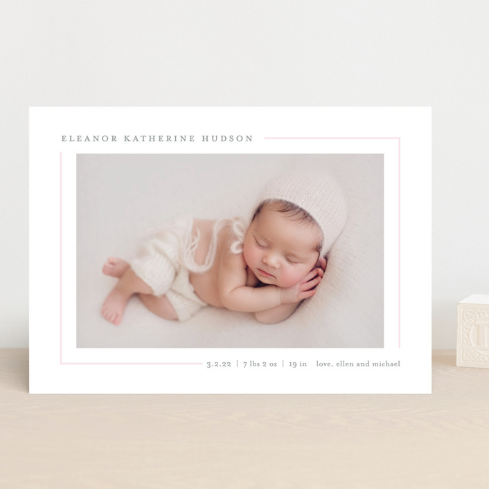 """""""Simply Serene"""" - Preppy Birth Announcements in Blush by Lauren Chism."""