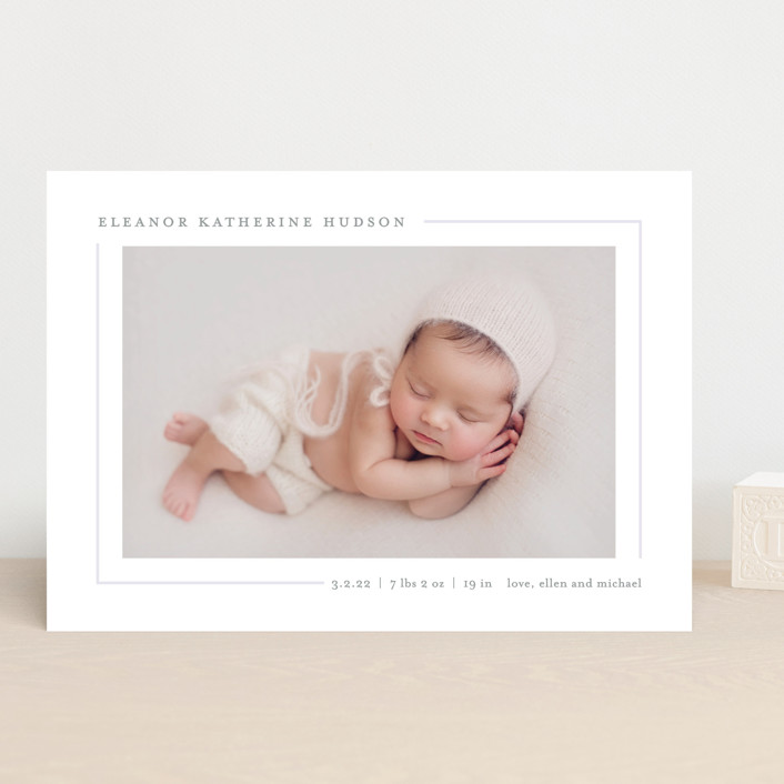"""Simply Serene"" - Preppy Birth Announcements in Blush by Lauren Chism."