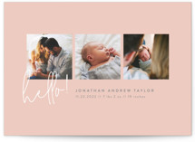 This is a pink birth announcement by Robert and Stella called Camera Roll with standard printing on smooth signature in standard.