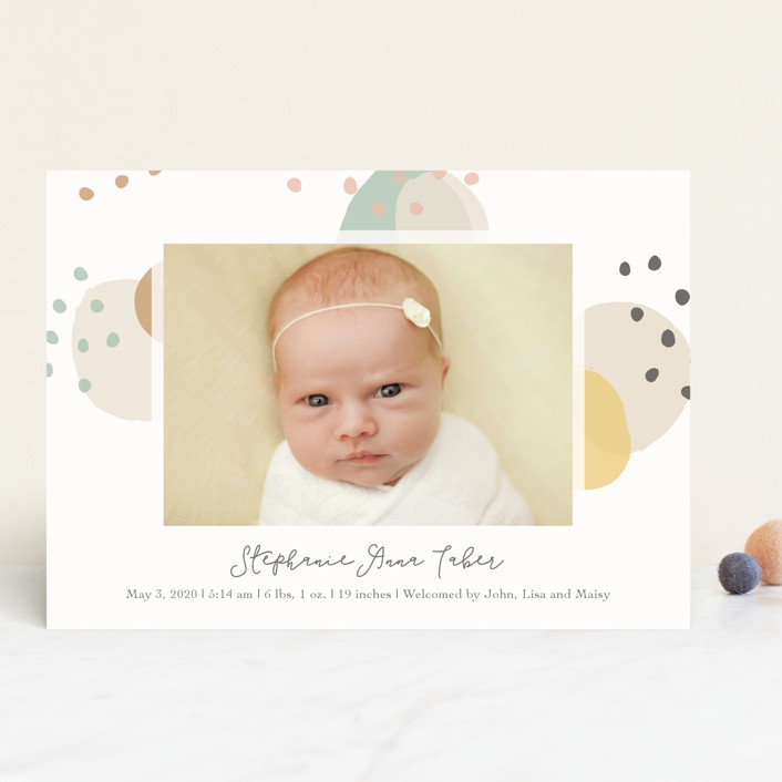 """""""Dreamy Bubbles"""" - Modern Birth Announcements in Eggnog by Betsy Siber."""