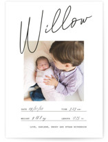 This is a black and white birth announcement by Katy Shen called Official with standard printing on smooth signature in standard.