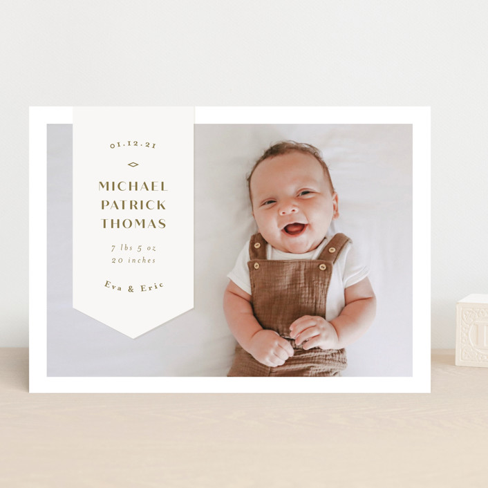 """Pennant"" - Preppy Birth Announcements in Olive by Anastasia Makarova."