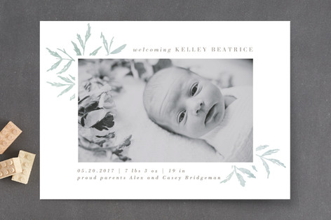 Elegant Foliage Birth Announcements