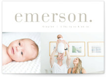 This is a grey birth announcement by Kristie Kern called Little Editor with standard printing on smooth signature in standard.