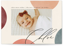 This is a colorful birth announcement by Kelly Schmidt called Abstract Dots with standard printing on signature in standard.