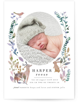 Woodland Forest Birth Announcements