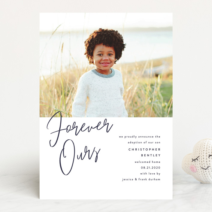 """Forever Love"" - Modern Birth Announcements in Navy by Pixel and Hank."