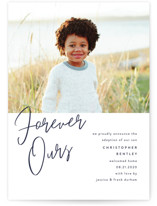 This is a blue birth announcement by Pixel and Hank called Forever Love with standard printing on smooth signature in standard.