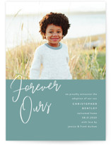 This is a green birth announcement by Pixel and Hank called Forever Love with standard printing on smooth signature in standard.