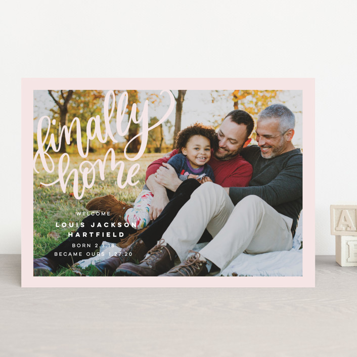 """""""Finally Home"""" - Modern Birth Announcements in Snow by Pink House Press."""