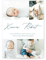 This is a blue birth announcement by Stacey Meacham called Modern scribe with standard printing on signature in standard.