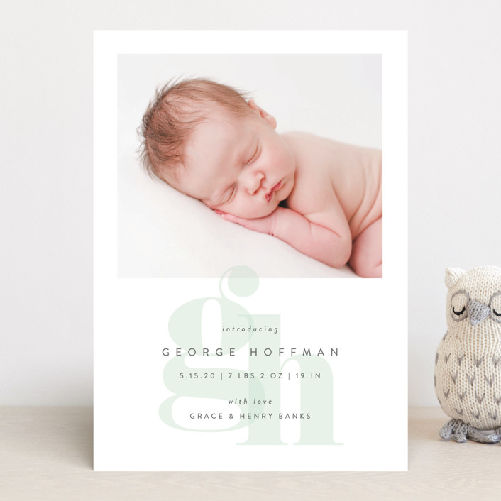 """Layered Letters"" - Preppy Birth Announcements in Sky by Lauren Chism."