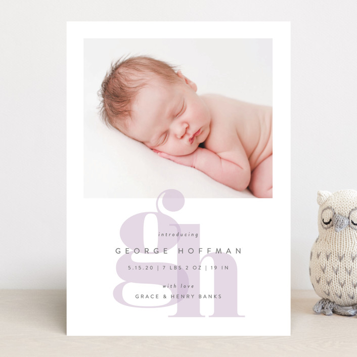 """""""Layered Letters"""" - Preppy Birth Announcements in Sky by Lauren Chism."""