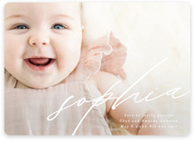 This is a white birth announcement by Phrosne Ras called Modern Calligraphy with standard printing on smooth signature in standard.