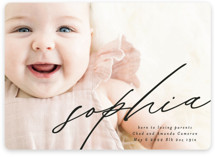 This is a black birth announcement by Phrosne Ras called Modern Calligraphy with standard printing on smooth signature in standard.