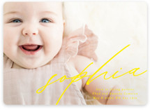 This is a yellow birth announcement by Phrosne Ras called Modern Calligraphy with standard printing on smooth signature in standard.