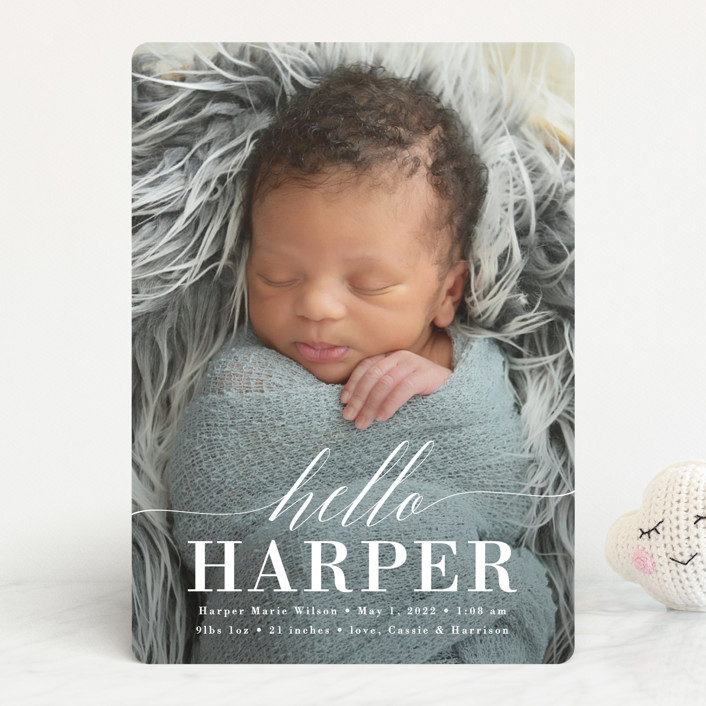 """Little Hello"" - Birth Announcements in Cloud by Susan Asbill."