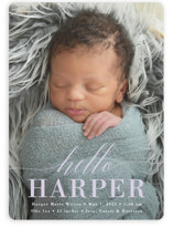 This is a purple birth announcement by Susan Asbill called Little Hello with standard printing on smooth signature in standard.