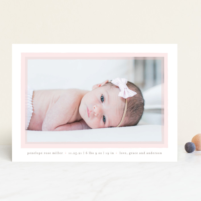 """""""Cotton Candy"""" - Preppy Birth Announcements in Blush by Lauren Chism."""