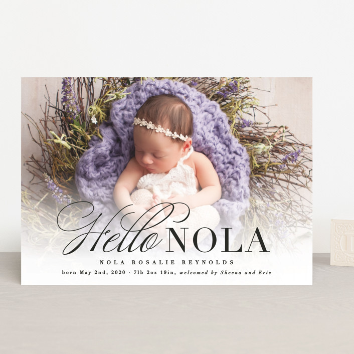 """Hello Nola"" - Birth Announcements in Pearl by Hooray Creative."
