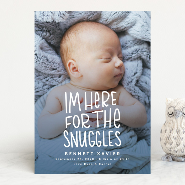 """""""Snuggles"""" - Funny Birth Announcements in Dusty Blue by Mayflower Press."""