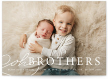 This is a white birth announcement by Bethany Anderson called Oh Brother with standard printing on smooth signature in standard.