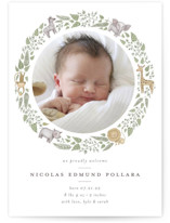 This is a green birth announcement by Anna Ducos called Tiny Safari with standard printing on smooth signature in standard.