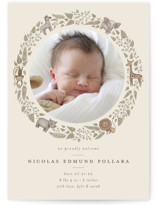 This is a brown birth announcement by Anna Ducos called Tiny Safari with standard printing on smooth signature in standard.