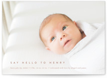 This is a red birth announcement by Jennifer Postorino called Say Hello To... with standard printing on smooth signature in standard.