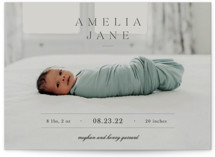 This is a beige birth announcement by Sara Hicks Malone called Vintage with standard printing on signature in standard.