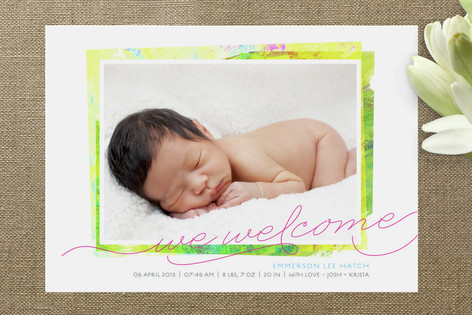 Painterly Swashes Birth Announcements